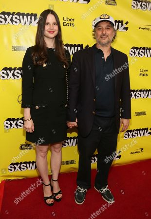 """Stock Photo of Harmony Korine, Rachel Korine. Director Harmony Korine and his wife Rachel arrive for the world premiere of """"The Beach Bum"""" at the Paramount Theatre during the South by Southwest Film Festival, in Austin, Texas"""