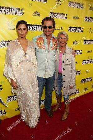 "Stock Image of Matthew McConaughey, Camila Alvez, Kay McConaughey. Matthew McConaughey, his wife, Camila Alvez, left, and his mother, Kay McConaughey arrive for the world premiere of ""The Beach Bum"" at the Paramount Theatre during the South by Southwest Film Festival, in Austin, Texas"