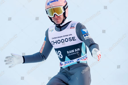 Stefan Kraft of Austria reacts during the FIS World Cup Ski Jumping Men's HS134 competition at the FIS Ski Jumping World Cup event in Oslo, Norway, 10 March 2019.