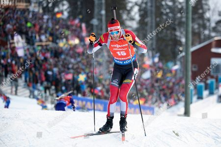 Stock Picture of Simon Eder of Austria competes during the men's 12,5 km pursuit competition at the IBU Biathlon World Championships in Oestersund, Sweden, 10 March 2019.