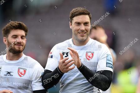 Matt Banahan of Gloucester Rugby celebrates after the match