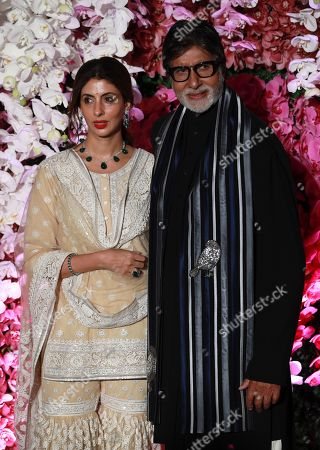 Stock Image of Bollywood actor Amitabh Bachchan (R) and his daughter Shweta Bachchan Nanda pose as they arrive to attend the wedding reception of Akash Ambani, son of Reliance Industries Chairman Mukesh Ambani, in Mumbai, India, 10 March 2019. Akash Ambani got married to Shloka Mehta on 09 March 2019.