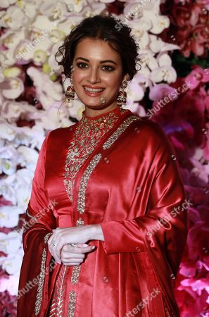 Bollywood actress Dia Mirza poses as she arrives to attend the wedding reception of Akash Ambani, son of Reliance Industries Chairman Mukesh Ambani, in Mumbai, India, 10 March 2019. Akash Ambani got married to Shloka Mehta on 09 March 2019.