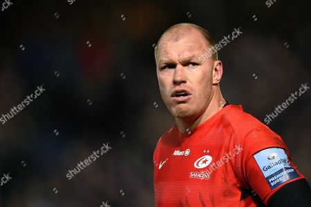 Schalk Burger of Saracens looks on during a break in play