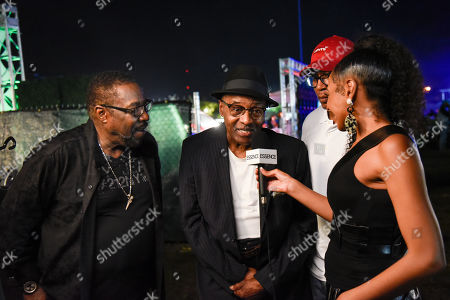 Eddie Levert, from left, Walter Williams and Eric Nolan Grant of The O'Jays interviewed after their concert at 'Jazz In The Gardens' at Hard Rock Stadium on Sunday, March 10, 2019 in Miami Gardens, Fla.