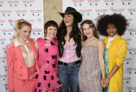 """Laura Wiggins, Sophia Lillis, Katt Shea, Mackenzie Graham, Zoe Renee. Laura Wiggins, from left, Sophia Lillis, Katt Shea, director, Mackenzie Graham and Zoe Renee, cast in the movie, arrive at the world premiere of """"Nancy Drew and the Hidden Staircase,"""" at the AMC Century City 15, in Los Angeles"""