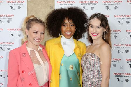 """Laura Wiggins, Zoe Renee, Mackenzie Graham. Laura Wiggins, from left, Zoe Renee and Mackenzie Graham arrive at the World Premiere of """"Nancy Drew and the Hidden Staircase"""" at the AMC Century City 15, in Los Angeles"""