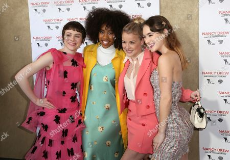"""Sophia Lillis, Zoe Renee. Laura Wiggins, Mackenzie Graham. Sophia Lillis, from left, Zoe Renee, Laura Wiggins and Mackenzie Graham arrive at the World Premiere of """"Nancy Drew and the Hidden Staircase"""" at the AMC Century City 15, in Los Angeles"""