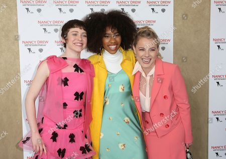 """Sophia Lillis, Zoe Renee. Laura Wiggins. Sophia Lillis, from left, Zoe Renee and Laura Wiggins arrive at the World Premiere of """"Nancy Drew and the Hidden Staircase"""" at the AMC Century City 15, in Los Angeles"""