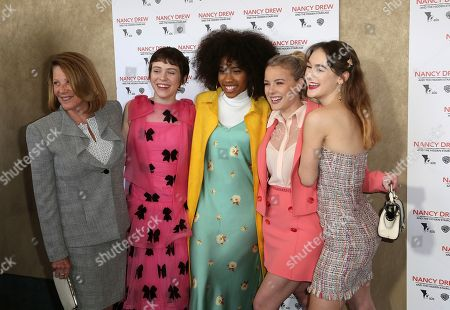 """Linda Lavin, Sophia Lillis, Zoe Renee. Laura Wiggins, Mackenzie Graham. Linda Lavin, from left, Sophia Lillis, Zoe Renee. Laura Wiggins and Mackenzie Graham arrive at the World Premiere of """"Nancy Drew and the Hidden Staircase"""" at the AMC Century City 15, in Los Angeles"""