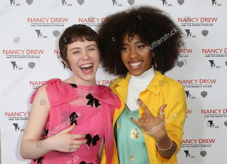 """Sophia Lillis, Zoe Renee. Sophia Lillis, left, and Zoe Renee arrive at the World Premiere of """"Nancy Drew and the Hidden Staircase"""" at the AMC Century City 15, in Los Angeles"""