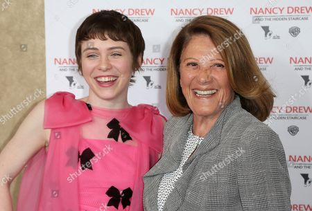 """Sophia Lillis, Linda Lavin. Sophia Lillis, left, and Linda Lavin arrive at the World Premiere of """"Nancy Drew and the Hidden Staircase"""" at the AMC Century City 15, in Los Angeles"""