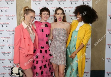 """Laura Wiggins, Sophia Lillis, Mackenzie Graham, Zoe Renee. Laura Wiggins, from left, Sophia Lillis, Mackenzie Graham and Zoe Renee arrive at the World Premiere of """"Nancy Drew and the Hidden Staircase"""" at the AMC Century City 15, in Los Angeles"""