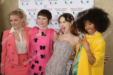 """Stock Picture of Laura Wiggins, Sophia Lillis, Mackenzie Graham, Zoe Renee. Laura Wiggins, from left, Sophia Lillis, Mackenzie Graham and Zoe Renee arrive at the World Premiere of """"Nancy Drew and the Hidden Staircase"""" at the AMC Century City 15, in Los Angeles"""