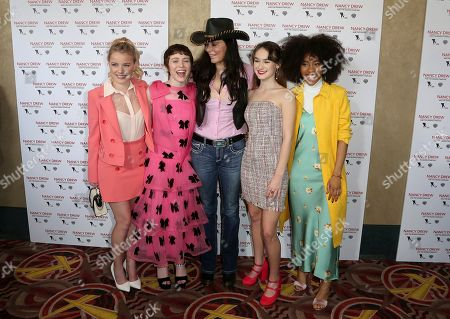 """Laura Wiggins, Sophia Lillis, Katt Shea, Mackenzie Graham, Zoe Renee. Laura Wiggins, from left, Sophia Lillis, Katt Shea, Mackenzie Graham and Zoe Renee arrive at the World Premiere of """"Nancy Drew and the Hidden Staircase"""" at the AMC Century City 15, in Los Angeles"""