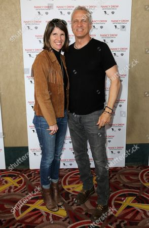 """Mandy Fabian, Patrick Fabian. Mandy Fabian, left, and Patrick Fabian arrive at the World Premiere of """"Nancy Drew and the Hidden Staircase"""" at the AMC Century City 15, in Los Angeles"""