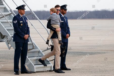 Arabella Kushner, Theodore Kushner, Jared Kushner. White House senior adviser Jared Kushner holds his son Theodore Kushner they arrive on Air Force One, at Andrews Air Force Base, Md., en route to Washington as they return from Palm Beach, Fla