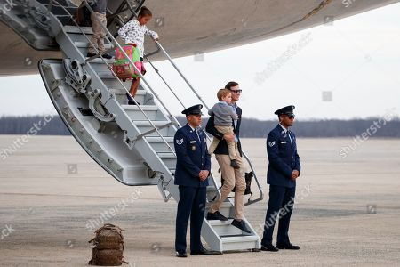 Arabella Kushner, Theodore Kushner, Jared Kushner. White House senior adviser Jared Kushner holds his son Theodore Kushner and is followed by his daughter Arabella Kushner as they arrive on Air Force One, at Andrews Air Force Base, Md., en route to Washington as they return from Palm Beach, Fla