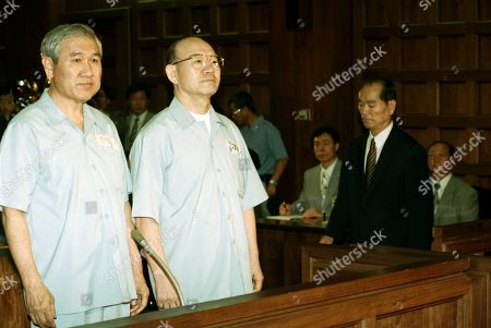 Stock Picture of Ex-President Chun to appear in libel trial over Gwangju uprising  Former President Chun Doo-hwan (R) and his successor Roh Tae-woo stand in prison uniforms in a courtroom on trial on numerous counts of insurgency, graft and murder in Seoul, in this file photo dated Aug. 26, 1996. The historic trial ended with Chun sentenced to death and Roh to a prison term of 22 years and six months, but the two were later pardoned. Chun is set to appear in a regional court on March 11, 2019, for a libel trial over his memoir, in which he allegedly defamed victims of his brutal crackdown on a 1980 pro-democracy uprising. Chun was indicted without detention in May 2018 on charges that his memoirs, published in 2017, disgraced the late activist priest Cho Chul-hyun. (Yonhap)/2019-03-11 10:05:09/ <Copyright ¨Ï 1980-2019 YONHAPNEWS AGENCY. All rights reserved.>