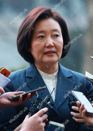 SMEs and Startups Minister nominee Park Young-sun speaks to reporters as she arrives at a temporary office in Seoul, South Korea, 11 March 2019, to prepare for her parliamentary confirmation hearing.