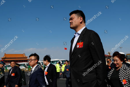 Former NBA player Yao Ming arrives for the 4th plenary meeting of the Second Session of the 13th Chinese People's Political Consultative Conference (CPPCC) National Committee at the Great Hall of the People (GHOP) in Beijing, China, 11 March 2019. The CPPCC is the top advisory body of the Chinese political system and runs alongside the annual plenary meetings of the 13th National People's Congress (NPC), together known as 'Lianghui' or 'Two Meetings'.
