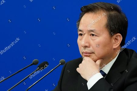 China's Minister of Ecology and Environment Li Ganjie attends a press conference on the sidelines of the second session of the 13th National People's Congress (NPC) in Beijing, China, 11 March 2019.