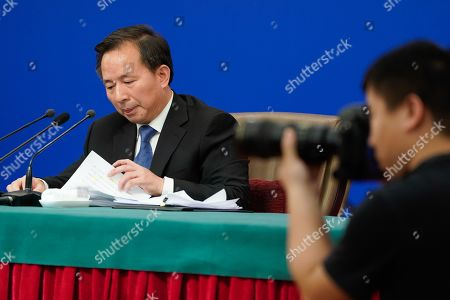 Editorial image of China's Minister of Ecology and Environment press conference, Beijing - 11 Mar 2019