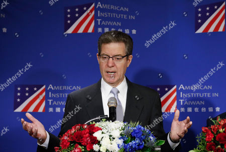 Sam Brownback, US ambassador-at-large for religious freedom, speaks during a press conference in Taipei, Taiwan, 11 March 2019. Brownback is in Taiwan attending a regional religious freedom forum in Taipei.
