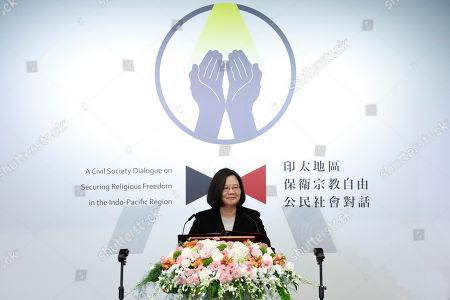Taiwan President Tsai Ing-wen speaks during  a regional religious freedom forum in Taipei, Taiwan, 11 March 2019.