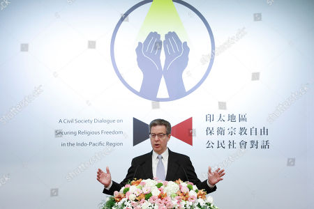 Sam Brownback, US ambassador-at-large for religious freedom, speaks during a regional religious freedom forum in Taipei, Taiwan, 11 March 2019. Brownback is in Taiwan,  attending a regional religious freedom forum in Taipei.