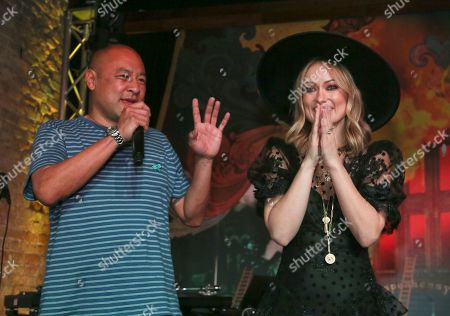 """Dan the Automator, Olivia Wilde. Dan the Automator, left, and Olivia Wilde greet the crowd during the """"Booksmart"""" world premiere after-party at Speakeasy during the South by Southwest Film Festival early, in Austin, Texas"""