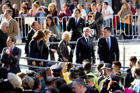 Spain's Prime Minister, Pedro Sanchez (R), Madrid's Regional President Angel Garrido (2-R), Madrid's Mayoress Manuela Carmena (3-R) and Spanish Parliament's Lower Chamber Speaker Ana Pastor (4-R) attend an act to remember the victims of 11-M terrorist attacks at Daoiz y Velarde square in Madrid, Spain, 11 March 2019. On 11 March 2004, a total of 192 people died and more than 2,000 others were injured when several bombs, placed by Al Qaeda terrorist group, exploded in four different commuter trains in Madrid.