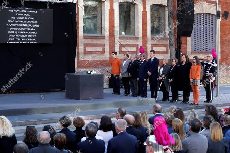 Spain's Prime Minister, Pedro Sanchez (6-R), Madrid's Regional President Angel Garrido (7-R) and Madrid's Mayoress Manuela Carmena (5-R) attend an act to remember the victims of 11-M terrorist attacks at Daoiz y Velarde square in Madrid, Spain, 11 March 2019. On 11 March 2004, a total of 192 people died and more than 2,000 others were injured when several bombs, placed by Al Qaeda terrorist group, exploded in four different commuter trains in Madrid.