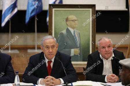 Stock Photo of Israeli Prime Minister and Chairman of the Likud Party Benjamin Netanyahu (L) attends the Menachem Begin Heritage Center during his party's special meeting held in memory of former Prime Minister Menachem Begin during an election campaign event in Jerusalem, Israel, 11 March 2019. Israel's attorney general said on 28 February he intends to bring charges against prime minister Netanyahu in three lawsuits, pending a hearing. Israel will go to the polls on 09 April 2019.