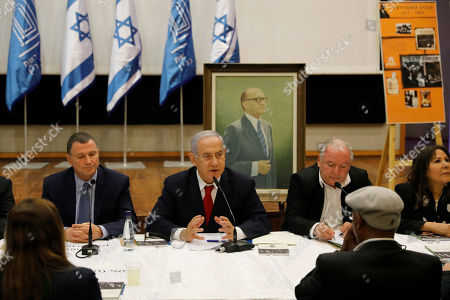 Israeli Prime Minister and Chairman of the Likud Party Benjamin Netanyahu (C) attends the Menachem Begin Heritage Center during his party's special meeting held in memory of former Prime Minister Menachem Begin during an election campaign event in Jerusalem, Israel, 11 March 2019. Israel's attorney general said on 28 February he intends to bring charges against prime minister Netanyahu in three lawsuits, pending a hearing. Israel will go to the polls on 09 April 2019.