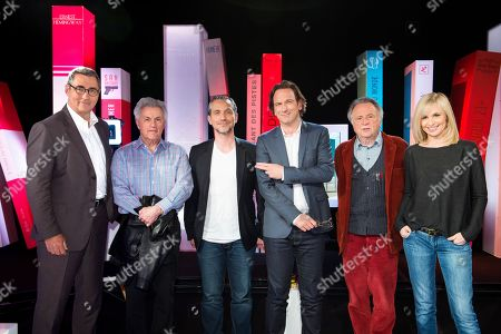 Stock Photo of Michel Floquet, John Irving, Olivier Norek, Francois Busnel, Regis Debray and Anais Jeanneret.