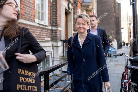 """Labour MP Yvette Cooper (centre) leaves the Center for European Reform in Westminster after delivering a speech on the """"next steps"""" for the Brexit process. MPs will get a second 'meaningful vote' on Prime Minister Theresa May's proposed Brexit deal tomorrow."""
