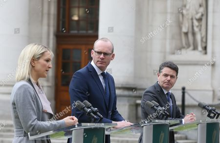(l to r) Minister of State for European Affairs Helen McEntee TD, Tanaiste and Minister for Foreign Affairs Simon Coveney TD and Minister for Finance Paschal Donohoe TD in the Courtyard of Government Buildings today