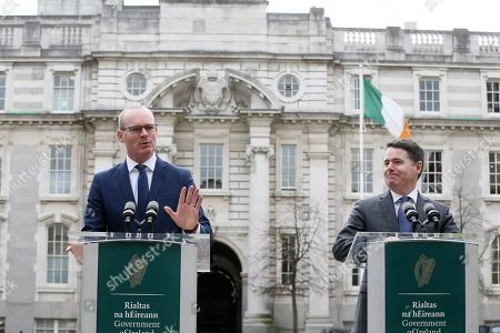(l to r) Tanaiste and Minister for Foreign Affairs Simon Coveney TD and Minister for Finance Paschal Donohoe TD in the Courtyard of Government Buildings today