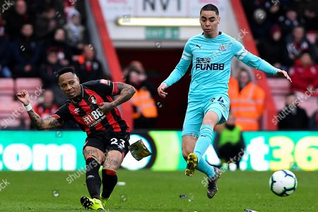 Stock Photo of Nathaniel Clyne of AFC Bournemouth and Miguel Almiron of Newcastle United - AFC Bournemouth v Newcastle United, Premier League, Vitality Stadium, Bournemouth - 16th March 2019 Editorial Use Only - DataCo restrictions apply