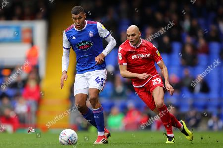Collin Quaner of Ipswich Town and Yohan Benalouane of Nottingham Forest - Ipswich Town v Nottingham Forest, Sky Bet Championship, Portman Road, Ipswich - 16th March 2019 Editorial Use Only - DataCo restrictions apply