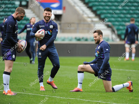 (L to R) Finn Russell, Ali Price and Ruaridh Jackson - Scotland players are in good spirits during the warm up.