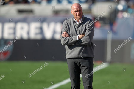 New England Revolution head coach Brad Friedel during the first half of an MLS soccer game against the Columbus Crew, in Foxborough, Mass