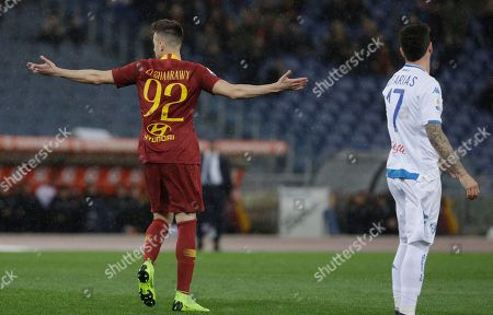 Roma's Stephan El Shaarawy celebrates after scoring his team's first goal during an Italian Serie A soccer match between Roma and Empoli, at the Olympic stadium in Rome
