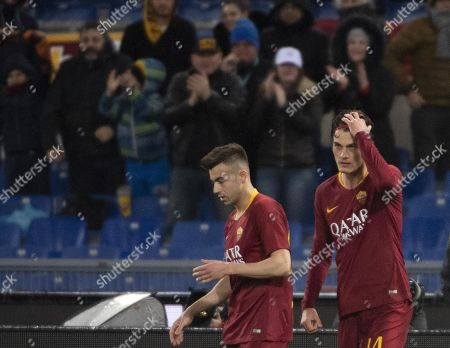 Roma's Patrik Schick (R) jubilates with teammate Stephan El Shaarawy after scoring the 2-1 goal during the Italian Serie A soccer match AS Roma vs Empoli FC at the Olimpico stadium in Rome, Italy, 11 March 2019.