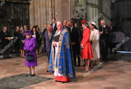Stock Picture of Queen Elizabeth II, Prince William and Catherine Duchess of Cambridge, Prince Harry and Meghan Duchess of Sussex, The Prince Andrew, Prince Charles and Camilla Duchess of Cornwall with The Very Reverend John Hall