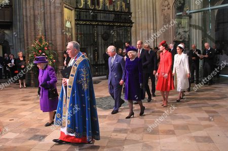 Queen Elizabeth II, Prince William and Catherine Duchess of Cambridge, Prince Harry and Meghan Duchess of Sussex, The Prince Andrew, Prince Charles and Camilla Duchess of Cornwall with The Very Reverend John Hall