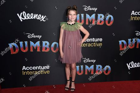 "Raegan Revord attends the LA premiere of ""Dumbo"" at the Dolby Theatre, in Los Angeles"