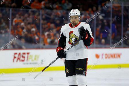 Ottawa Senators' Cody Ceci in action during an NHL hockey game against the Philadelphia Flyers, in Philadelphia