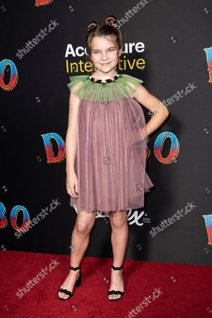 Raegan Revord poses for the photographers as she arrives for the premiere of 'Dumbo' at the El Capitan Theater in Hollywood, California, 11 March 2019. The movie 'Dumbo' will start screening on 29 March 2019.